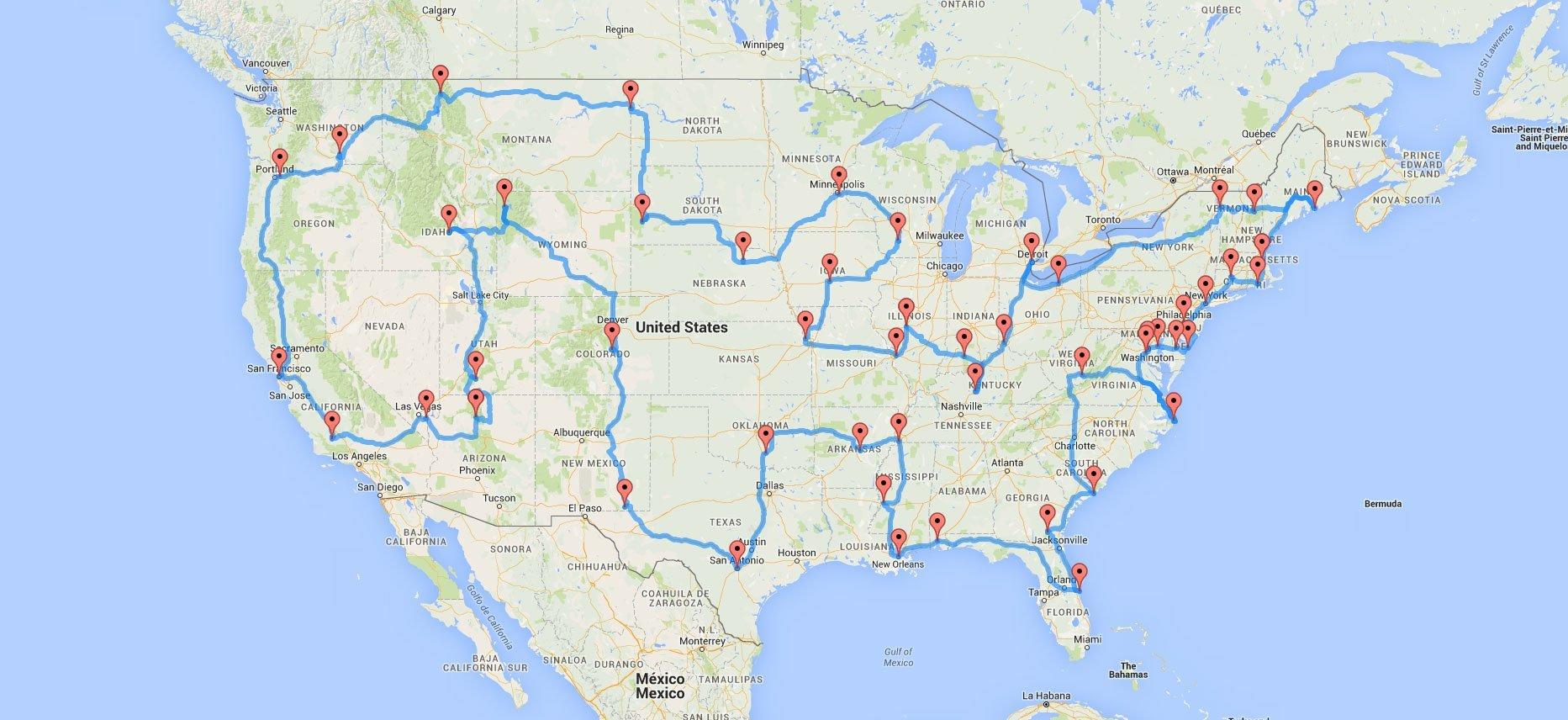 Itinerario por América